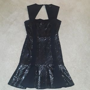 BCBG Noelle Black Fitted Sequin Cocktail Dress